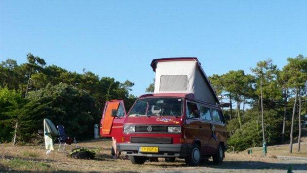 kamperen midden in het bos met de volkswagen T3 california